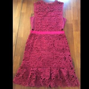 Cranberry Dress - Bandeau with Lace Overlay